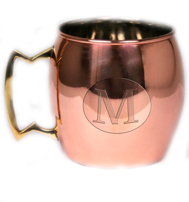 "Stainless Steel Monogrammed Moscow Mule Mugs ""M"" - 16 oz - Jodhshop"