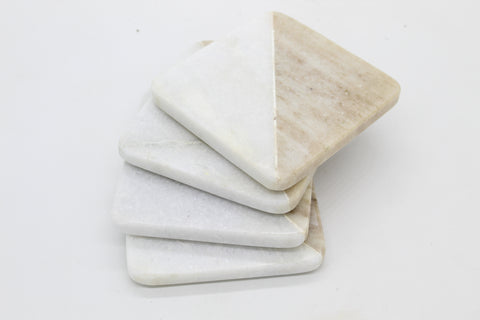 53102: Brown Galaxy and White Marble Square Coasters - Set of 4 - Jodhshop