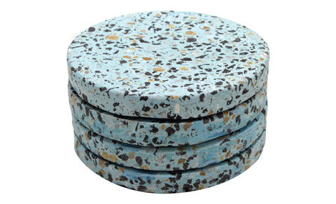 53305: Light Blue Terrazzo Stone Round Coaster - Set of 4 - Jodhshop