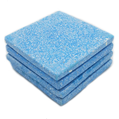 53312: Aqua Terrazzo Coasters with White Chips - Set of 4 - Jodhshop