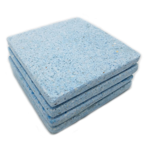Terrazzo Coaster Set - Blue with White Chips - Jodhshop