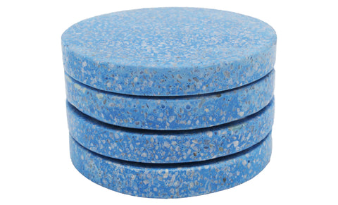 53322: Light Blue Terrazzo Stone with White Chips Round Coaster - Set of 4 - Jodhshop