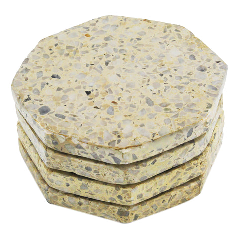 53360: Terrazzo Stone with White and Yellow Chips Octagonal Coasters - Set of 4 - Jodhshop