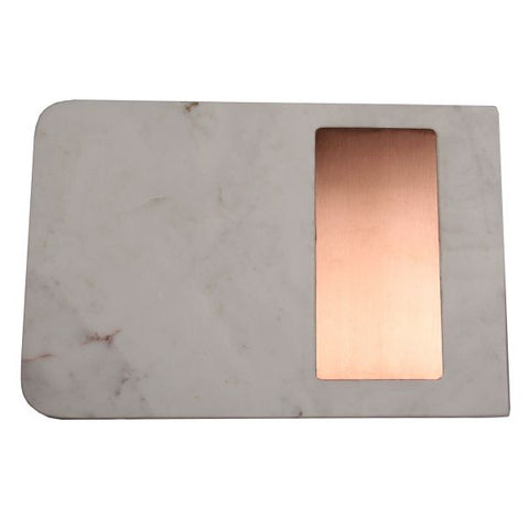 White Marble with Rectangular Strip Cheese Board - 11.75 x 7.75 x .5 inches - Jodhshop