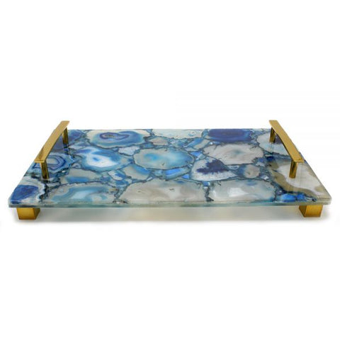 Natural Blue Agate with Brass Handles - 14 x 8 x 2 inches - Jodhshop
