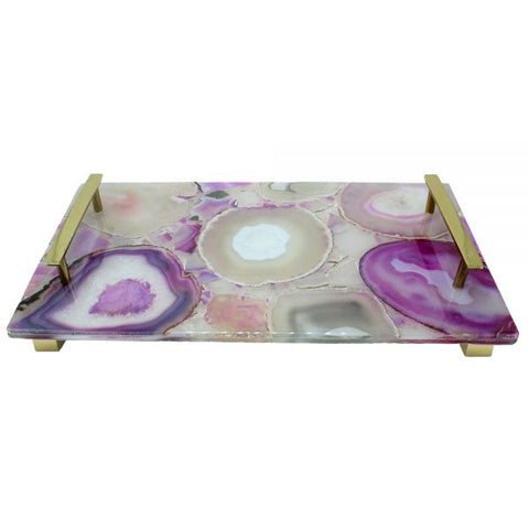 Rectangle Natural Pink Agate with Brass Handles - 14 x 8 x 2 inches - Jodhshop