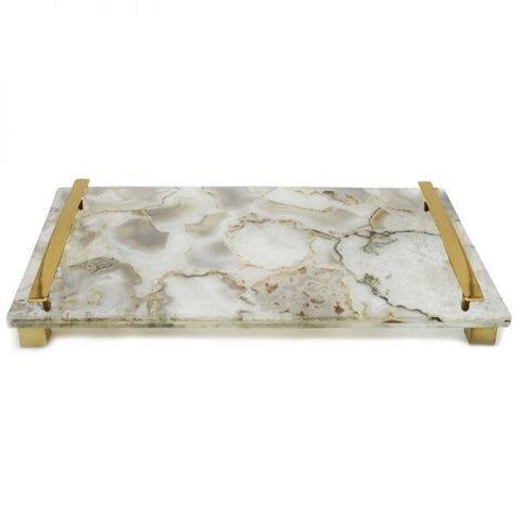Natural White Agate with Brass Handles - 14 x 8 x 2 inches - Jodhshop