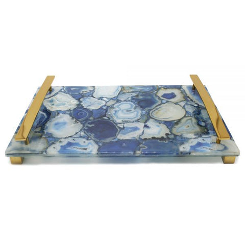 Natural Blue Agate with Brass Handles - 16 x 10 x 2 inches - Jodhshop