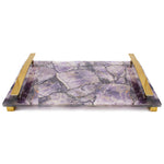 Natural Purple Agate with Brass Handles - 16 x 10 x 2 inches - Jodhpuri Online