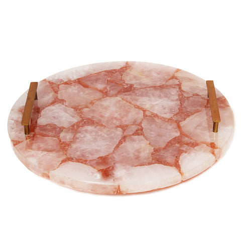 Rose Quartz Tray with Brass Handles - 14 x 8 inches - Jodhshop