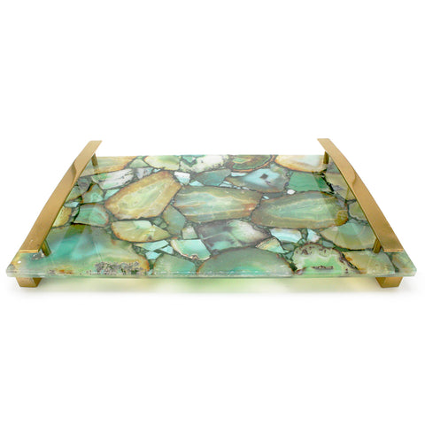 Natural Aqua Agate with Brass Handles - 16 x 10 x 2 inches - Jodhshop