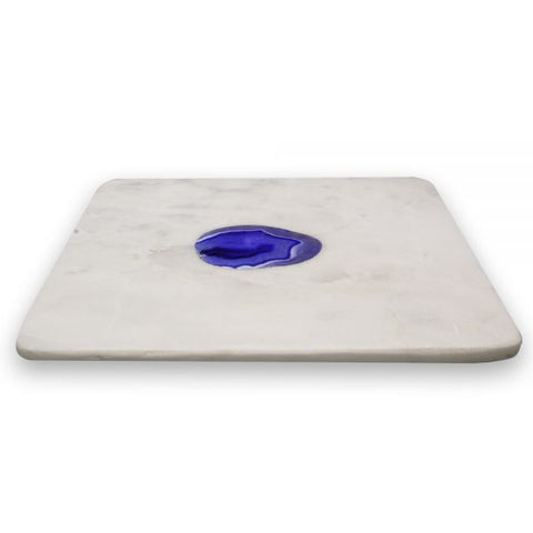 White Marble and Plum Agate Square Tray - 8 x 8 inches - Jodhshop