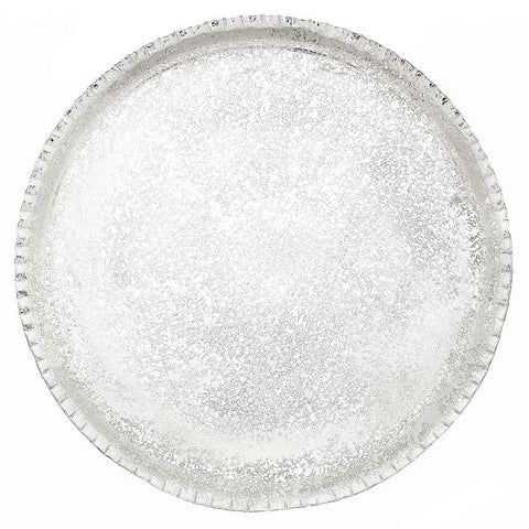 Round Splatter Embossed Silver Nickel Tray - 13.25 x 13.25 inches - Jodhshop