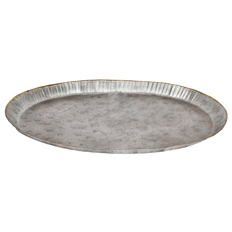Oval Galvanized Platter with Gold Bead Edge - 19 x 13 inches - Jodhshop