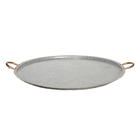 Rimmed Galvanized Tray with Copper Handles - 27 x 23 inches - Jodhshop