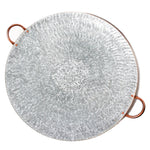 Galvanized Steel Round Serving Tray with Gold Bead Edge and Copper Handles - 24 x 20 x 3.50 inches - Jodhshop