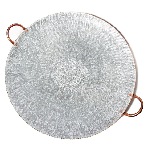 Galvanized Steel Round Serving Tray with Gold Bead Edge and Copper Handles – 27.50 x 24 x 4 inches - Jodhshop