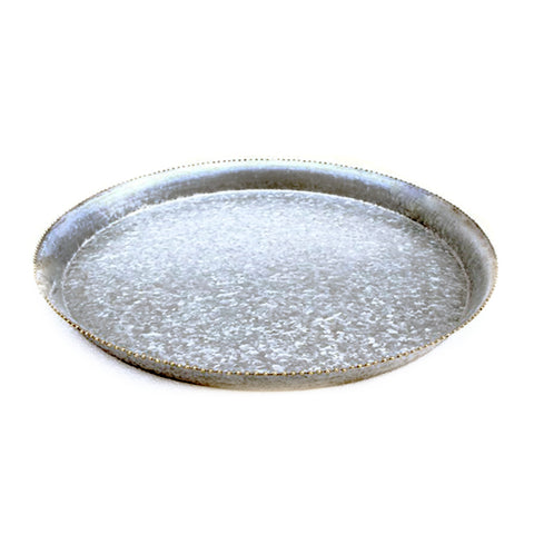 Galvanized Deep Rim Round Serving Tray - 17.25 x 1.5 inches - Jodhshop