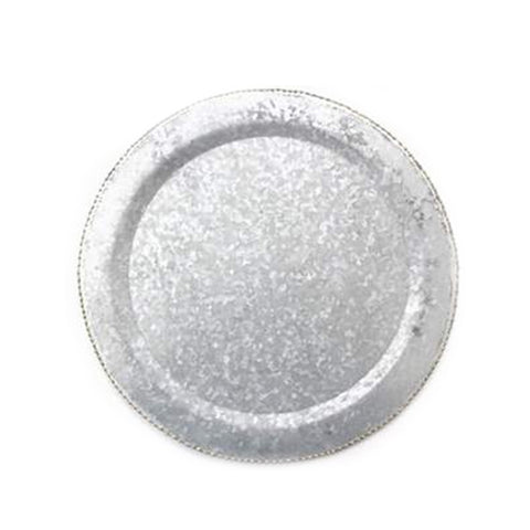 Galvanized Steel Round Charger Plate with Bead Edge – 13 x 13 x 1 inches - Jodhshop