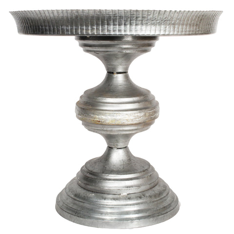 Galvanized Spindled Cake Stand with Gold Beaded Edge - 13.25 x 13 inches - Jodhshop