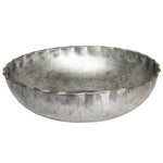 Large Galvanized Steel Bowl with Gold Bead Edge - 16 x 4.5 inches - Jodhshop