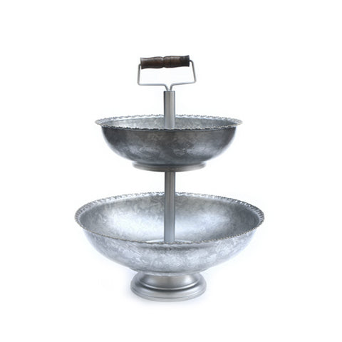 3 Tiered Galvanized Steel Bowl with Gold Bead Edge and Wood Shovel Handle – 17 x 17 x 23.50 inches - Jodhshop