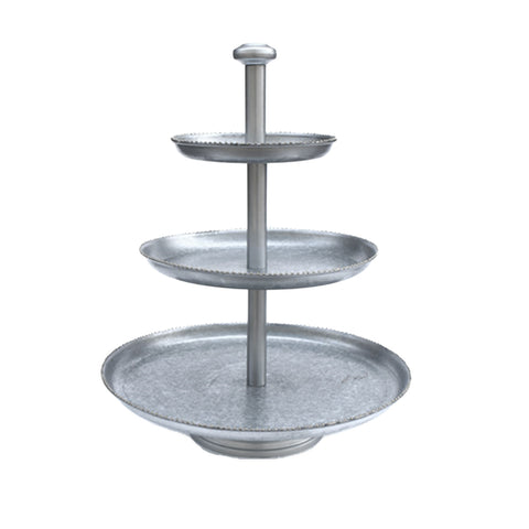 Galvanized 3 Tier Serving Tray - 16 x 21.5 inches - Jodhshop