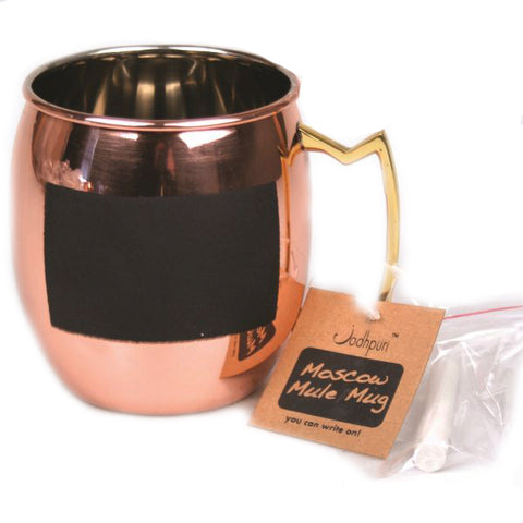 Stainless Steel Moscow Mule Chalk Mugs with Copper Finish - 16 oz - Jodhpuri Online