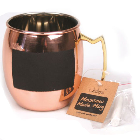 Pure Copper Moscow Mule Mug with Chalk Board Front - 16 oz - Jodhpuri Online