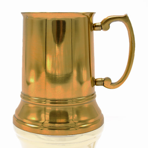 Stainless Steel Beer Tankard with Gold Finish - 16 oz - Jodhpuri Online