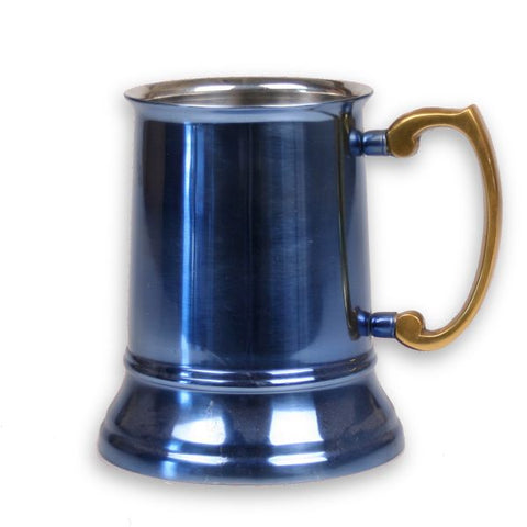 Stainless Steel Beer Tankard with Light Blue Finish - 16 oz - Jodhpuri Online