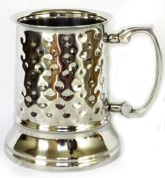 Hammered Stainless Steel Beer Tankard with Silver Finish - 16 oz - Jodhpuri Online