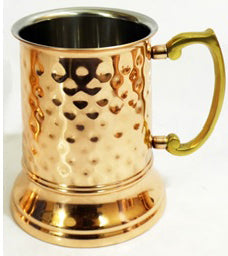 Hammered Stainless Steel Beer Tankard with Copper Finish - 16 oz - Jodhshop