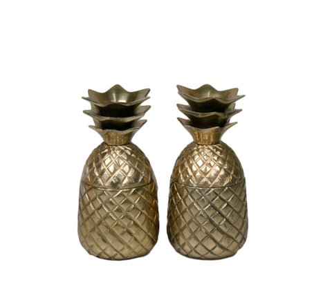 Mini Gold Pineapple Shot Mugs - Set of 2 - Jodhpuri Online