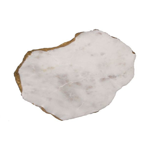 White Marble Platter Irregular Edge with Gold Foil - 6 to 8 inches