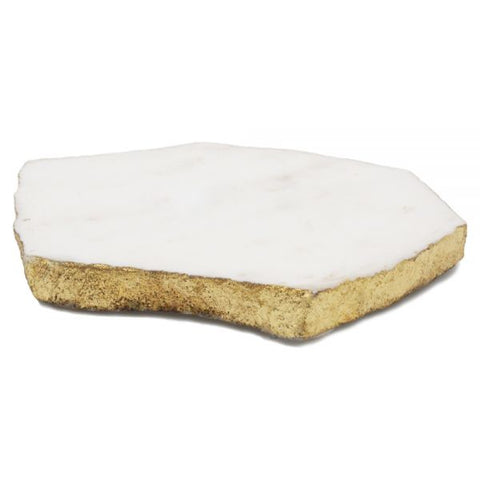 65052: Organic Shape White Marble Coaster with Gold Foil (Individual Piece) - 4 to 5 inches - Jodhshop