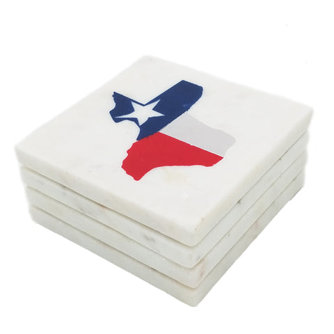 65255: Marble Screen Printed Coasters - State of Texas Flag - Jodhshop