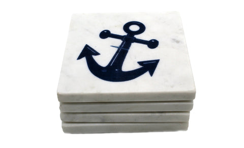 65260: Marble Screen Printed Coasters - Navy Blue Anchor - Jodhshop