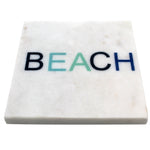 65262: Marble Screen Printed Coasters - Shades of Blue Beach - Jodhshop