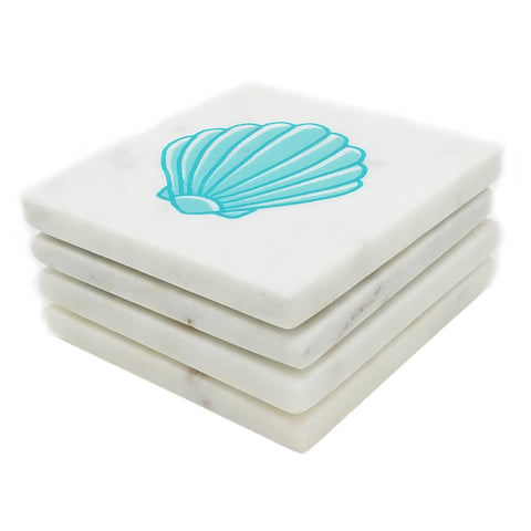 Marble Screen Printed Coasters - Aqua Shell - Jodhshop