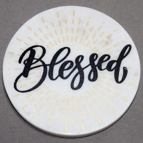 "White Marble Screened Coaster ""BLESSED"" 4 pc set"