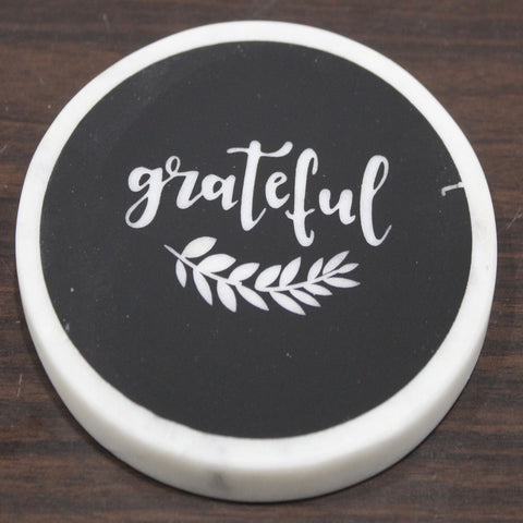 "Black marble screened coaster - ""GRATEFUL"" 4 pc set"