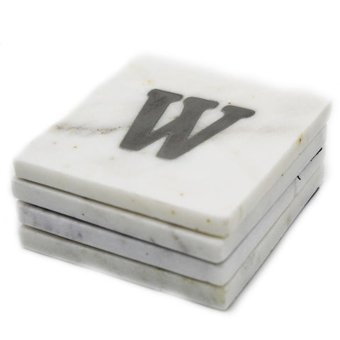 73052: Marble Monogrammed Letter Coasters - W - Jodhshop