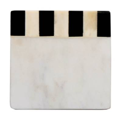73205: White Marble Square Coaster with Black/White Bone - Set of 4 - Jodhshop