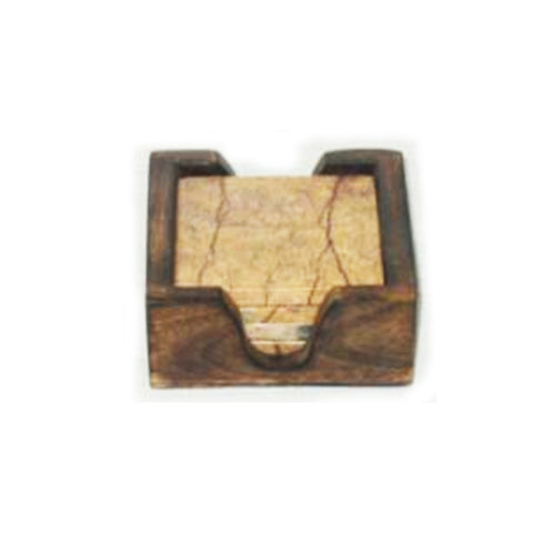 73500: Brown Forest Marble Square Coasters with Dark Wood Caddy - Set of 4 Coasters - Jodhshop