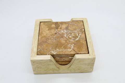 73502: Brown Forest Marble Square Coasters with Natural Wood Caddy - Set of 4 Coasters - Jodhshop