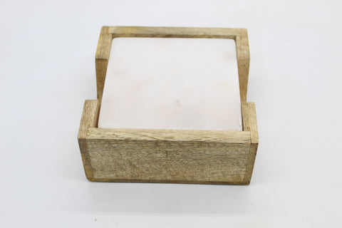 73503: White Marble Square Coasters with Natural Wood Caddy - Set of 4 Coasters - Jodhshop