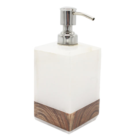 Alabaster and Wood Soap or Lotion Dispenser - Jodhshop