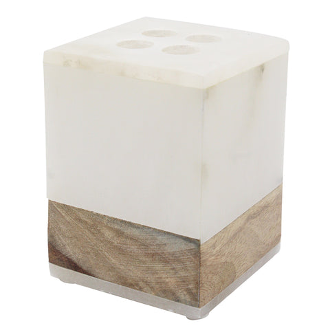 Alabaster and Wood Toothbrush Holder - Jodhpuri Online