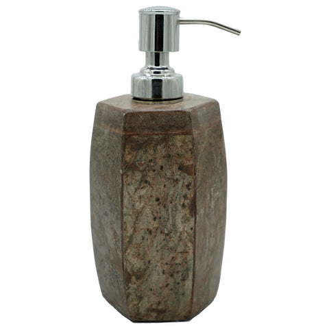 Marble Soap Dispenser with Rocky Slate Finish - 2.75 x 2.75 x 5 inches - Jodhshop